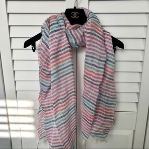 J. Crew Multicolour Striped Linen/Cotton Scarf